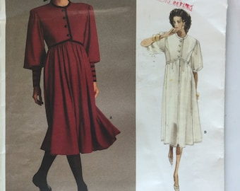 80's Albert  Nipon, Vogue Pattern 1984,  Misses' Pattern, Empire Waist Dress, Zippered Sleeves, Size 10, Bust 32.5 uncut