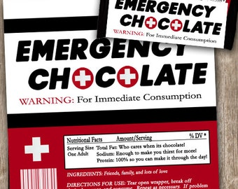 Emergency Chocolate Candy Wrappers, Emergency Chocolate, Friend Gift, Girfriend Gift, Chocolate Candy Bar Wrapper, INSTANT DOWNLOAD
