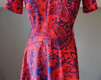 Vintage Short Sleeve Red and Blue Floral Dress by Toni Todd