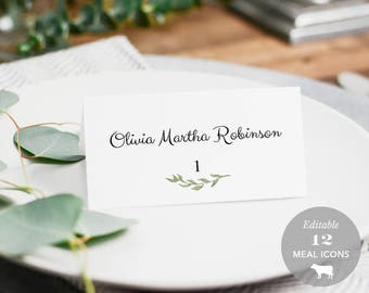 Wedding Place Card Printable, Place Card Template, Meal Choice Selection, Name, Seating, Instant Download PDF Rustic Watercolor #SPP011pc