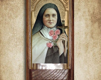 St. Therese of Lisieux Holy Water Font, Oak, Catholic, the Little Flower