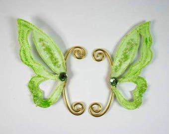 Fairy Earwings Ear Wing Butterfly Wings Fairy Costume Wings Cosplay Wings Green Earwings Green Glitter Earwings Nr 2