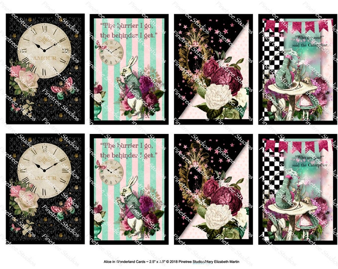 "Alice In Wonderland Cards (2.5""x 3.5"") ~ Digital Download ~ Printable / Journal / Label / Gift Tag / Bookplates / ATC Cards / Ephemera"