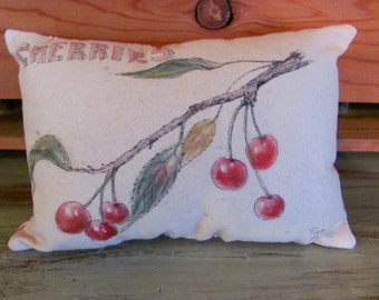 Handpainted Cherries Mini Pillow