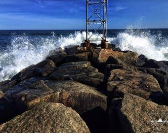 Jetty Waves - Wells Beach, Maine - Photography