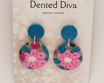 Dented Diva.Clay earrings.Light pink, marble grey and teal. Hand Made.