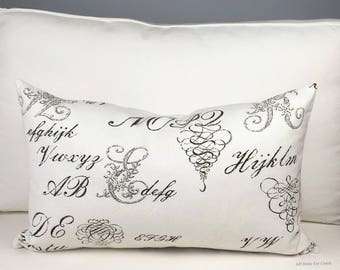 White Lumbar Pillow Cover, Scripted Pillow Cover, 16x26 Pillow Cover, Lumbar Pillow Cover, White Pillow Cover, Ready to Ship