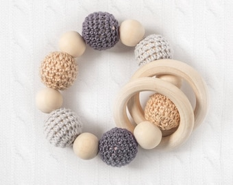 organic wood bead teething ring, natural baby teether, wood baby gift, organic baby gift, wood infant toy, beaded baby ring, crochet bead