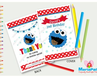 6 Cookie Monster Coloring Books, Personalized Coloring Books, Sesame Street Birthday Party Favors, Cookie Monster Party  A1215