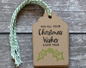 Christmas Handmade Gift Tags with To and From - Set of 8 - Hand Stamped - Double Layer Gift Tags