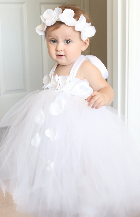 Gorgeous White Petal Flower Girl Tutu Dress for your 6-18