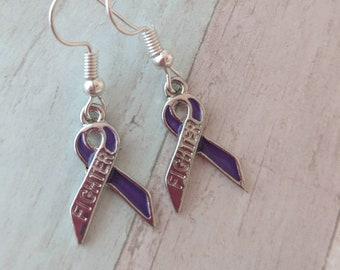 Awareness earrings, fibromyalgia earrings, cancer survivor gifts, silver earrings, charm earrings, hope earrings, dangly earrings