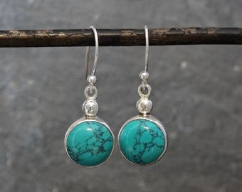 Turquoise Earrings, Silver and Turquoise Drop Earrings, December Birthstone, Birthstone Earrings, Simple Earrings, Sterling Silver
