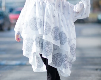 Women Maxi Soft Cotton Tunic Top, Asymmetric Flounces Top, White Oversize Summer Top, Cotton Casual Dress by EUG fashion - TU0425CT