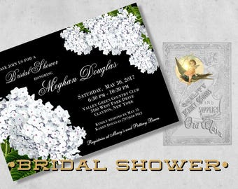 Black & White Bridal Shower Invitations, Printed - White Hydrangea Flowers - Black Floral Bridal Shower, Bridesmaid Luncheon Invitation