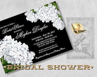 Black & White Bridal Shower Invitations, Printed - White Hydrangea Flowers - Black Floral Bridal Shower, Bridesmaid Luncheon Invitation