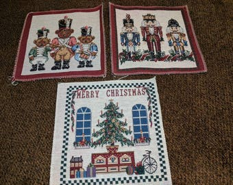 Set of 3 Holiday Tapestry Squares