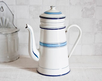Antique French JAPY White and Blue Enamel Coffee Pot || Rustic Home Decor - Country Style - Shabby Chic