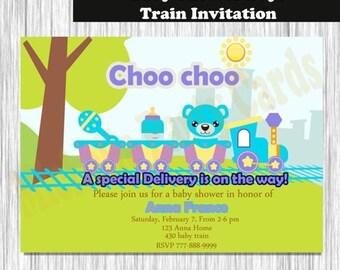 50%Off Baby Shower Boys Train Invitation