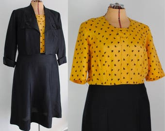 40s Dress & Jacket - Vintage 1940s Two Piece Dress and Cropped Jacket - Printed Raw Silk - Henry Gans Dress