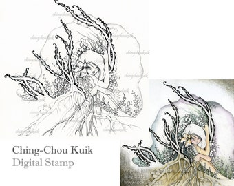 Here With Me - Digital Stamp Instant Download / Woods Botanical Flower Dryad Girl Lady Fantasy Art by Ching-Chou Kuik