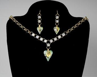 Swarovski Crystal Choker and Earrings, Crystal Ab Crystal, Wild Heart, Statement Jewelry, Jewelry Set, Sparkly Jewelry, Bridal Jewelry