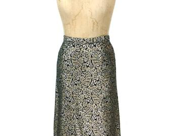 jupe maxi métallique Vintage 1960 / noir or argent / lurex scintillent / 60 ' s 70 ' s de la jupe / jupe vintage pour femmes / taille large