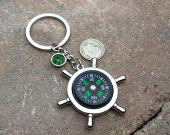 1 - Working Compass  Keychain, Nautical Key ring, custom birthstone, personalized key chain