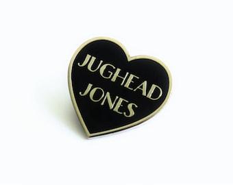 "Teen Dream Riverdale Black Silver Heart Pin // teen tv inspired // 1.25"" hard enamel lapel pin"