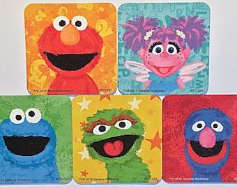 Sesame Street Refrigerator Magnets, Elmo Birthday, Grover Cookie Monster, 5 Fridge Magnets Set Sesame Street Party Favors Happy Place