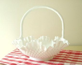 "Fenton hobnail 12"" milk glass basket, 1960s fruit bowl or centerpiece, white milk glass, wedding or housewarming gift"