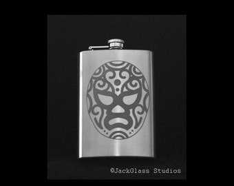 Etched Luchador Mask Flask with Funnel by Jackglass on Etsy