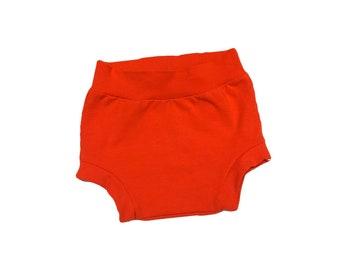 Shorties, bloomers, baby shorties, orange shorties, diaper covers, baby girl bloomers, girl bloomers