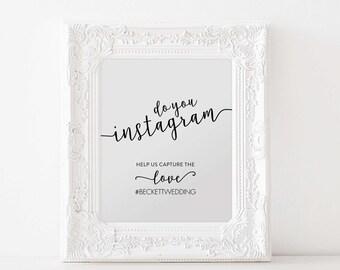 Instagram Printable, Instagram Hashtag Sign, Wedding Sign, Wedding Ideas, Instagram Print, Wedding Print