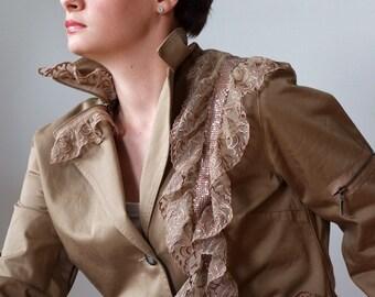 Boho jacket & lace, 40% off SALE, roamantic jacket with lace ruffles and zippers, Mori girl jacket, boho coat, artsy jacket, caramel coat