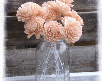 "Sola Wood Flowers 2"" Peach Sola Flowers Stemmed OR Without Stems Bellini Peachy Pink Set of 12 Sola Zinnia DIY Bride Wedding Bouquet"
