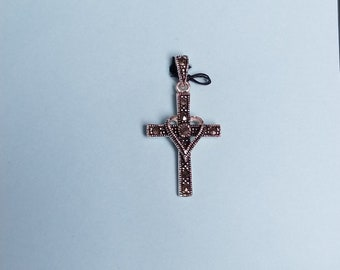 Pendant- silver and malachite cross