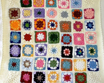 Crocheted Baby Blanket- Granny Squares- Made To Order- Multicolored- Boy Or Girl- Baby Nursery Decor