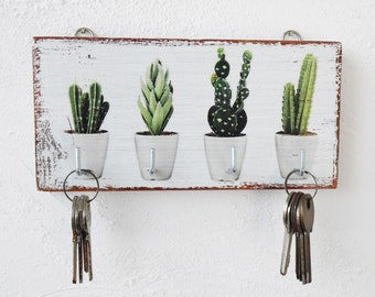 Wooden Cactus key holder for wall, Cactus wall decor