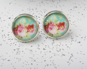 Rose Earrings, Floral Earrings, Flower Stud Earrings, Flower Glass dome Post Earrings, Rose Stud Earrings, flower post, Christmas Gift