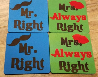 Mr Right and Mrs Always Right Fabric Coaster Individual/ Set