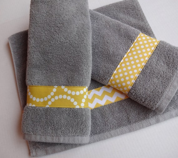 Yellow and grey towel hand towels yellow and grey chevron for Yellow and gray bathroom sets