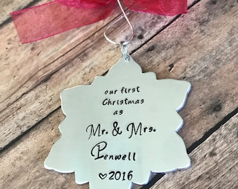 Custom Handstamped Christmas Ornament, First Christmas Together, Newlywed Gift, Handmade Christmas Tree Ornament, Holdiday Decor