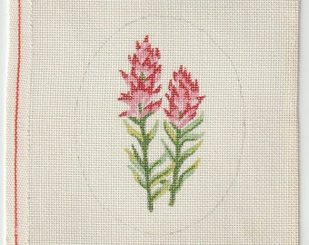 Red Indian Paintbrush Flowers Hand Painted on 18 ct Needlepoint Mono Canvas - The Workshop #401 Two Flowers in Oval Design
