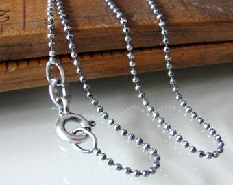 Sterling Silver Delicate Necklace - oxidized ball chain 1mm 18 inch long - antique style for RQP Studio wax seal jewelry