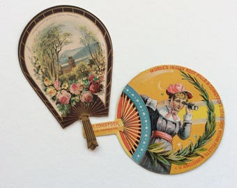 2 Victorian Paper Advertising Fans, Scrapbooking, Collage, Card Making, Trade Card