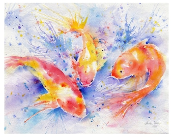 Costumed Carp watercolor print giclee of original art, koi, fish, pond, Hawaii, tropical, contemporary