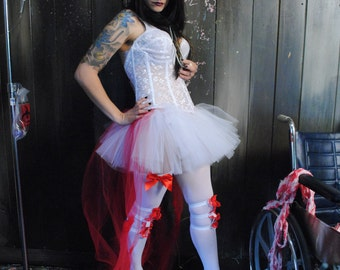 Adult tutu skirt Nurse red white hi low bustle costume Halloween bridal trail wedding vampire dance run -- you choose size - Sisters of