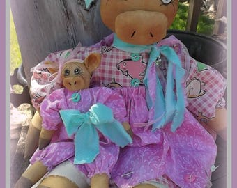 "Primitive raggedy 23"" Prissy & 9"" Pork farm pig cloth dolls Epattern Instant Download"