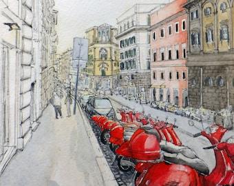 Vespas of Via Cavour - Print